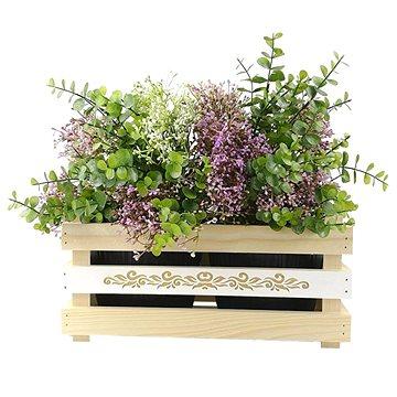 AMADEA Dřevěný obal na dva květináče s motivem krajky, 32x17x15cm (40759-00)