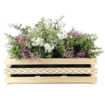 AMADEA Dřevěný obal na tři květináče s moderním motivem kosočtverců, 47x17x15cm (40763-00)