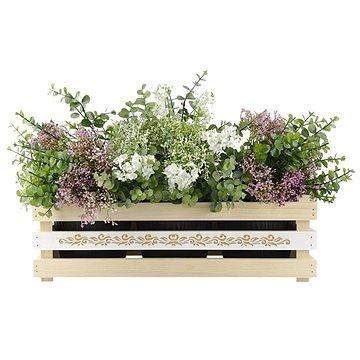 AMADEA Dřevěný obal na tři květináče s motivem krajky, 47x17x15cm (40766-00)