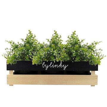 AMADEA Dřevěný obal na tři květináče s tabulkou pro psaní křídou, 47x17x15cm (40739-00)