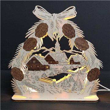 AMADEA Dřevěný svítící portál se šiškami, dýhový, 25 cm (06325-00)