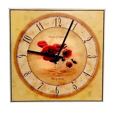 AMADEA Dřevěné hodiny nástěnné hranaté s vlčím mákem, masivní dřevo, 25x25 cm (30110)