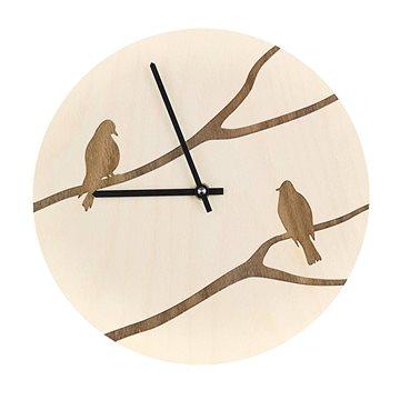 AMADEA Dřevěné hodiny nástěnné s motivem ptáčků, masivní dřevo, průměr 25 cm (40131-00)