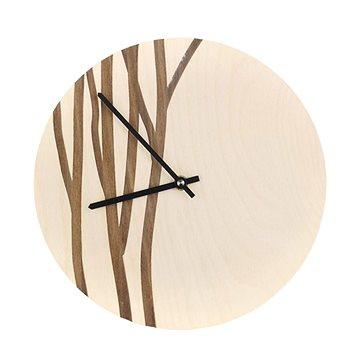 AMADEA Dřevěné hodiny nástěnné s motivem větviček, masivní dřevo, průměr 25 cm (40134-00)