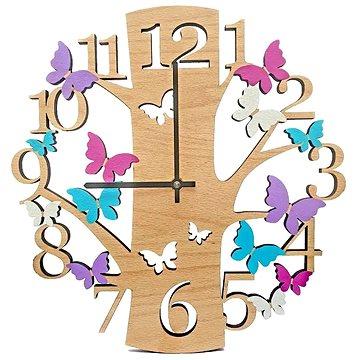 AMADEA Dřevěné hodiny nástěnné ve tvaru stromu s barevnými motýlky, masivní dřevo, průměr 30 cm (35505-00)