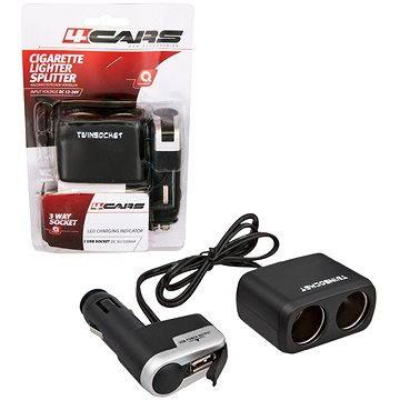 4CARS Rozdvojka zapalovače kombinovaná 12/24V S USB (94142)