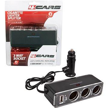 4Cars roztrojka do zapalovače s USB 12V/24V s kabelem (93916)