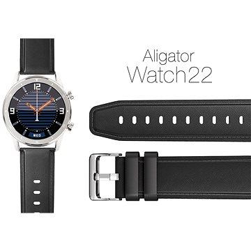 Aligator Watch 22 mm kožený řemínek černý (22AW0006)