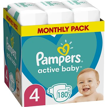 PAMPERS Active Baby vel. 4, Monthly Pack 180 ks (8006540032725)
