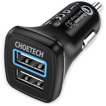 ChoeTech Quick 2x QC3.0 USB-A Car Charger Black (C0051)