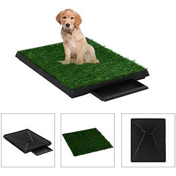 Shumee Toaleta pro psy s nádobou a umělou trávou zelená 63 × 50 × 7 cm (8719883667362)