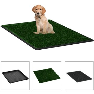 Shumee Toaleta pro psy s nádobou a umělou trávou zelená 64 × 51 × 3 cm (8719883667386)