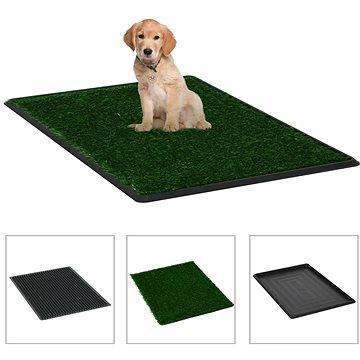 Shumee Toaleta pro psy s nádobou a umělou trávou zelená 76 × 51 × 3 cm (8719883667393)