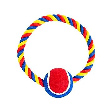 Trixie Hiphop Kruh bavlněný s tenisákem červeno-modro-bílý 6cm, 18cm 140g (8596410291104)