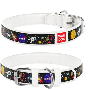 Waudog Obojek kožený NASA bílý 20-28 cm/1,2 cm (4823089318998)