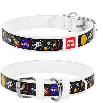 Waudog Obojek kožený NASA bílý 26-35 cm/1,5 cm (4823089319131)