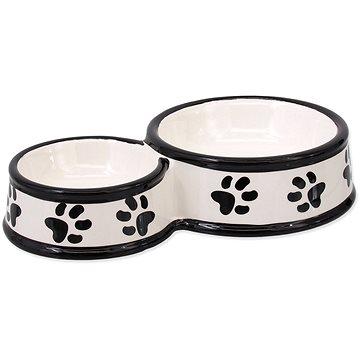 DOG FANTASY Dvojmiska keramická potisk tlapka bílá 25 × 15,5 × 5,5 cm 0,42 l (8595091798063)