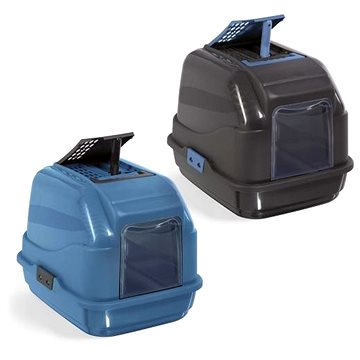 IMAC Krytý kočičí záchod s uhlíkovým filtrem a lopatkou 50 × 40 × 40 cm modrý (8021799417703)