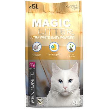 MAGIC PEARLS Kočkolit ML Bentonite Ultra White Baby Powder 5L (8595091799398)