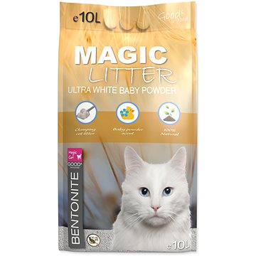 MAGIC PEARLS Kočkolit ML Bentonite Ultra White Baby Powder 10L (8595091799428)