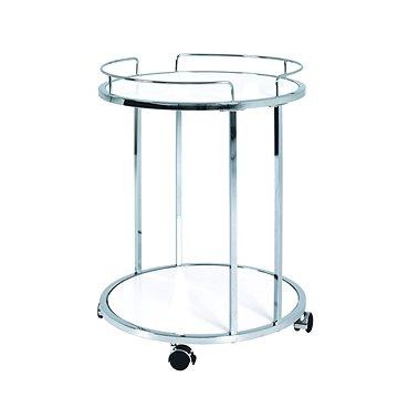 Pojízdný servírovací stolek Clay, 60 cm, chrom/bílá (HA00314)