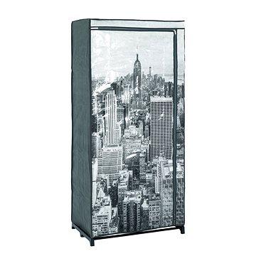 Šatní textilní skříň Horizonta, 160 cm, šedá / černá (HA00508)