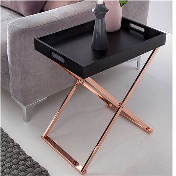 Brüxxi Servírovací stolek Lola, 61 cm, černá / měděná (SP1000585)