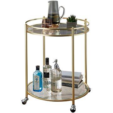 Brüxxi Servírovací stolek Gabi, 75 cm, zlatá / čirá (SP1000854)