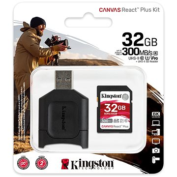 Kingston SDHC 32GB Canvas React Plus + čtečka karet (MLPR2/32GB)