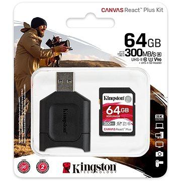Kingston SDXC 64GB Canvas React Plus + čtečka karet (MLPR2/64GB)
