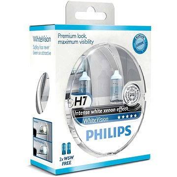 PHILIPS H7 WhiteVision, 55W, patice PX26d, 2ks + zdarma 2x W5W (12972WHVSM)