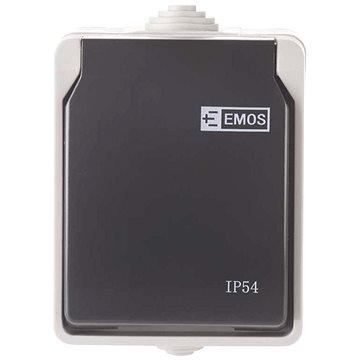 EMOS Zásuvka nástěnná, šedo-černá, IP54 (3104139700)