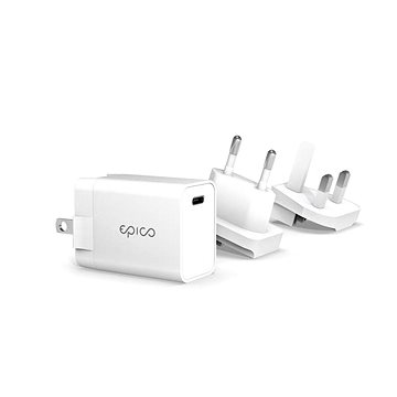 EPICO 20W PD Charger s Changeanle Plug (EU. UK) - bílá (9915101100108)