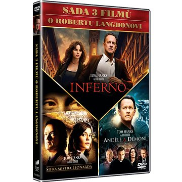 3x Dan Brown: Inferno, Andělé a démoni, Šifra mistra Leonarda (3DVD) - DVD (D007859)