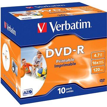 VERBATIM DVD-R AZO 4.7GB, 16x, printable, jewel case 10 ks (43521)