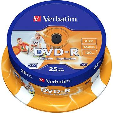 VERBATIM DVD-R AZO 4.7GB, 16x, printable, spindle 25 ks (43538)