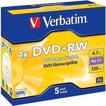 VERBATIM DVD+RW SERL 4.7GB, 4x, jewel case 5 ks (43229)