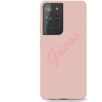 Guess Silicone Vintage zadní Kryt pro Samsung Galaxy S21 Ultra Pink (3700740496084)