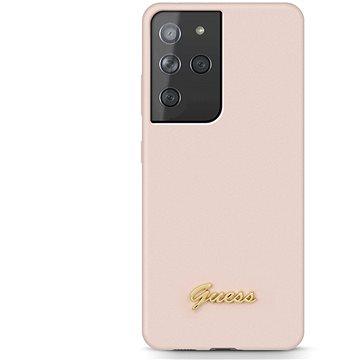 Guess Silicone Metal Logo Script Zadní Kryt pro Samsung Galaxy S21 Ultra Pink (3700740495872)
