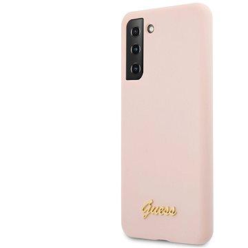 Guess Silicone Metal Logo Script Zadní Kryt pro Samsung Galaxy S21 Pink (3700740495858)