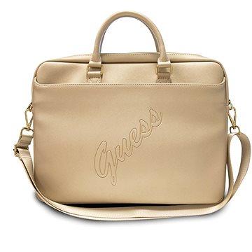 "Guess PU Saffiano Vintage Script Computer Bag 15/16"" Light Gold (3700740505250)"