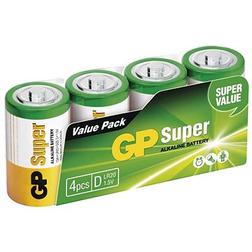 GP Alkalická baterie GP Super D (LR20), 4 ks (1013404000)