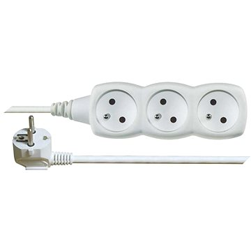 EMOS Prodlužovací kabel – 3 zásuvky, 7m, bílý (1902030700)