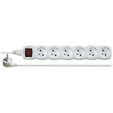 EMOS Prodlužovací kabel s vypínačem – 6 zásuvek, 5m, bílý (1902160500)