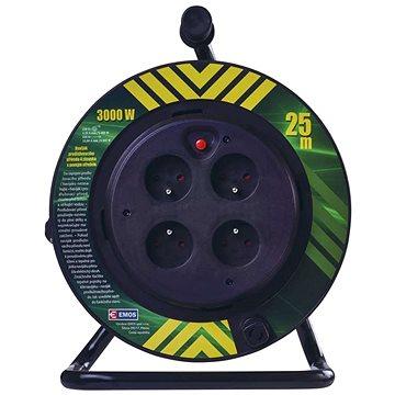 EMOS PVC kabel na bubnu s pevným středem – 4 zásuvky, 25m, 1,5mm2 (1908042510)