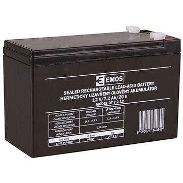 EMOS Bezúdržbový olověný akumulátor 12 V/7,2 Ah, faston 4,7 mm (1201000800)
