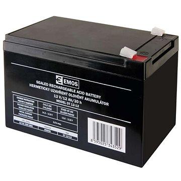 EMOS Bezúdržbový olověný akumulátor 12 V/12 Ah, faston 6,3 mm (1201000850)