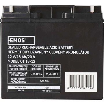 EMOS Bezúdržbový olověný akumulátor 12 V/18 Ah (1201000900)