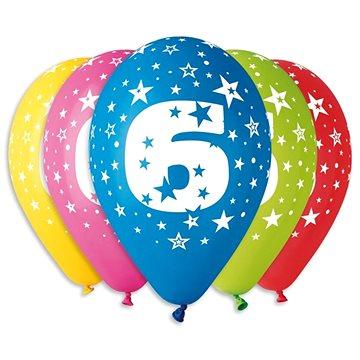 """Nafukovací balónky, 30cm, číslice """"6"""" mix barev, 5ks (8595681500571)"""