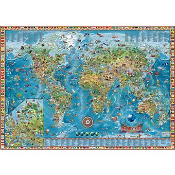 Dětská mapa světa 98x138cm lamino, lišty nástěnná mapa CZ (8586022501128)